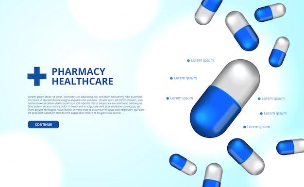 Farmácia pílulas cápsula medicina saúde Vetor Premium