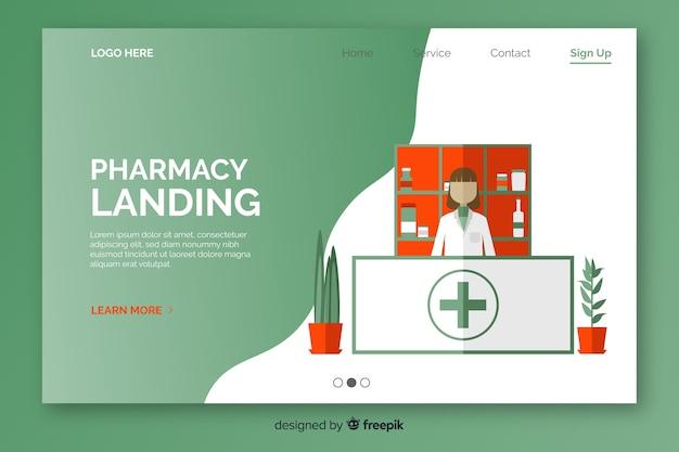 Farmácia simples e simples página de destino Vetor grátis