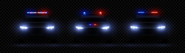 Faróis da polícia realistas. carro com efeito de luz led brilhante, sinalizador de sirene raro e frontal, luz policial vermelha nda azul Vetor Premium