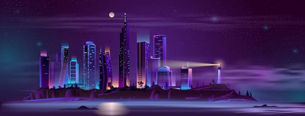 Farol, cidade, baía, costa, caricatura Vetor grátis