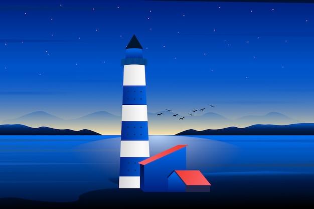 Farol com noite pôr do sol e céu roxo paisagem ilustração Vetor Premium