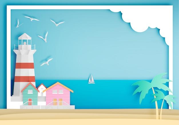 Farol, com, oceânicos, fundo, quadro, papel, arte, estilo Vetor Premium