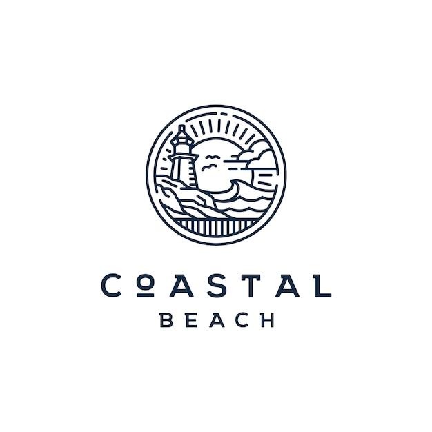 Farol de farol vintage no logotipo de praia costeira Vetor Premium