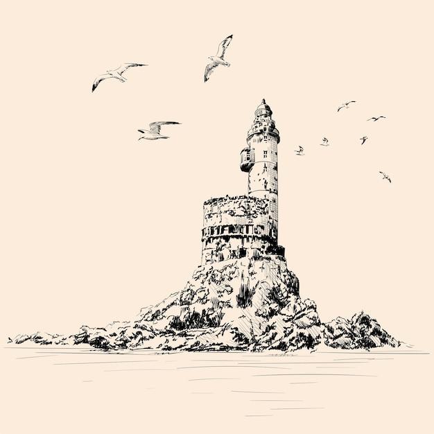 Farol na costa rochosa. gaivotas voam sobre o penhasco. desenho à mão sobre um fundo bege. Vetor Premium