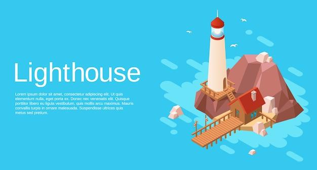 Farol na ilha de pedra falésia de pedra com casa de madeira e cais no mar azul Vetor Premium
