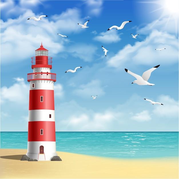 Farol na praia Vetor grátis