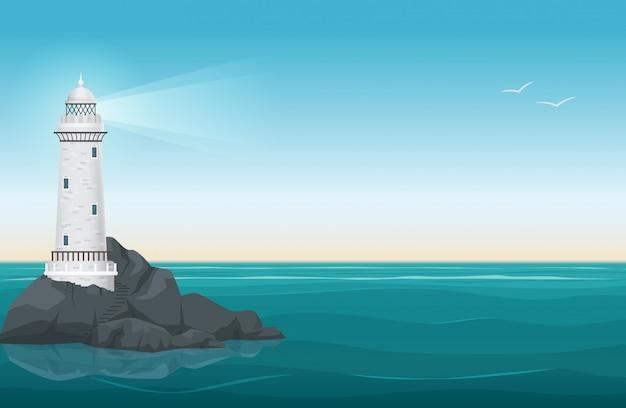 Farol, rocha, ilha, paisagem Vetor Premium