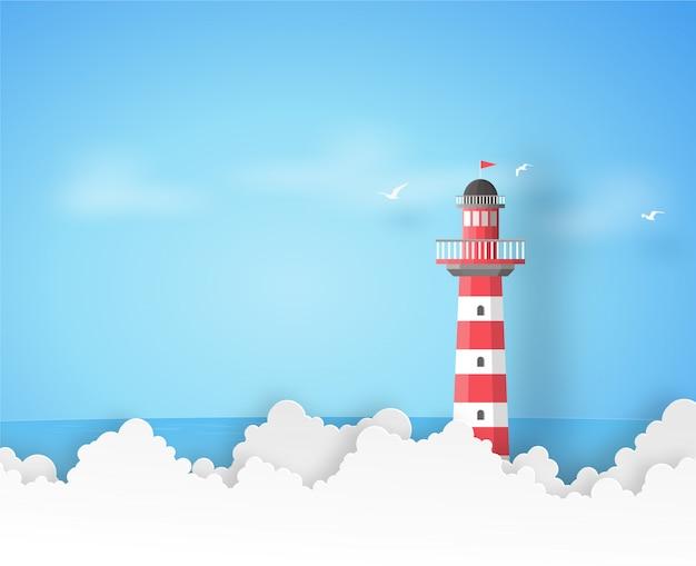 Farol vermelho e branco com o mar azul, as nuvens e os pássaros no fundo da arte do papel do vetor. Vetor Premium