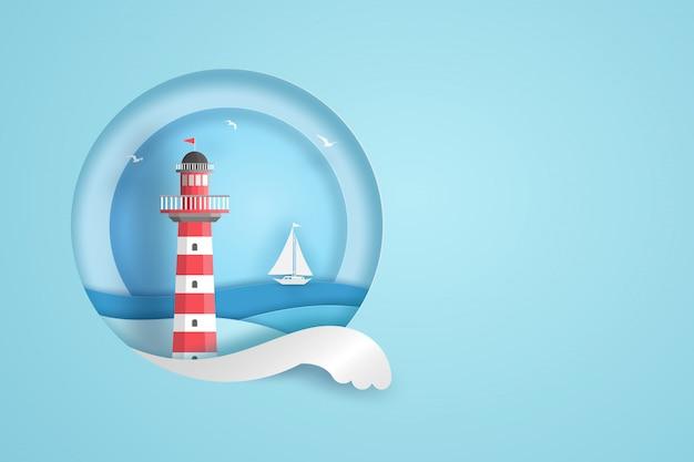 Farol vermelho e branco no quadro do círculo com o mar, as nuvens, os pássaros e o barco azuis. conceito de arte de papel de vetor. Vetor Premium