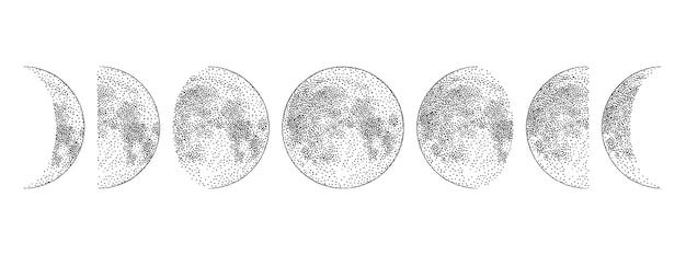 Fases da lua desenhadas à mão monocromática Vetor Premium