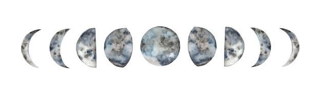 Fases da lua em aquarela de pintados à mão. Vetor Premium