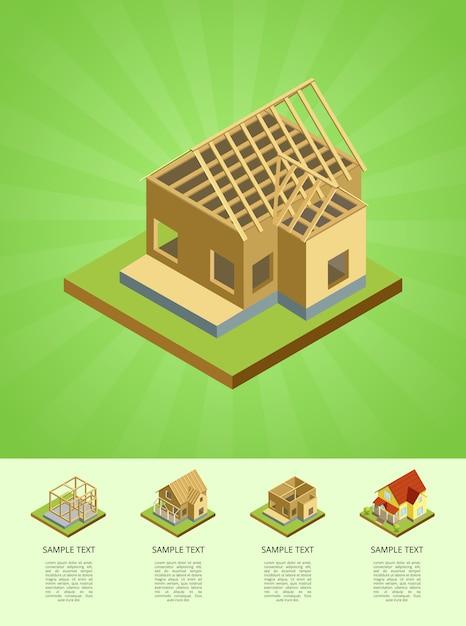Fases de construção do infográfico de casa rural Vetor Premium