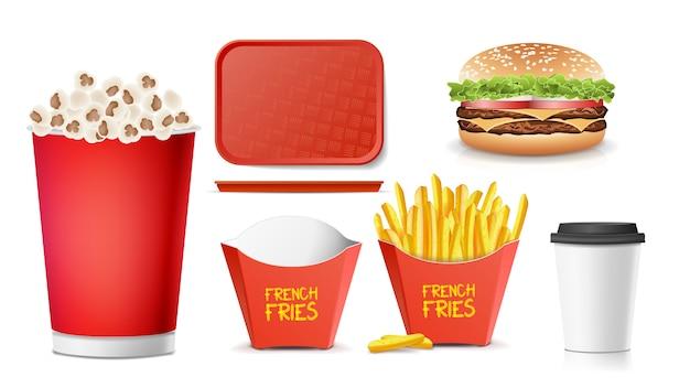 Fast food 3d Vetor Premium