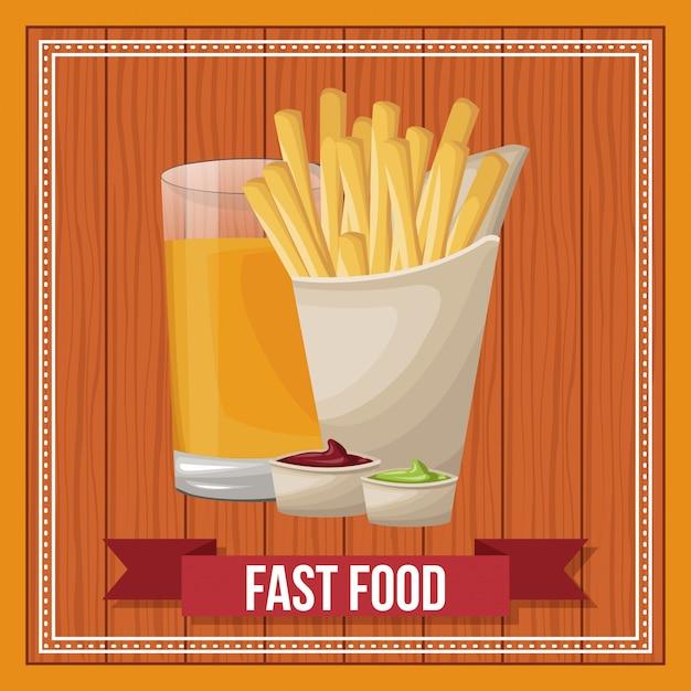 Fast food combo com banner de fita sobre fundo de madeira Vetor Premium