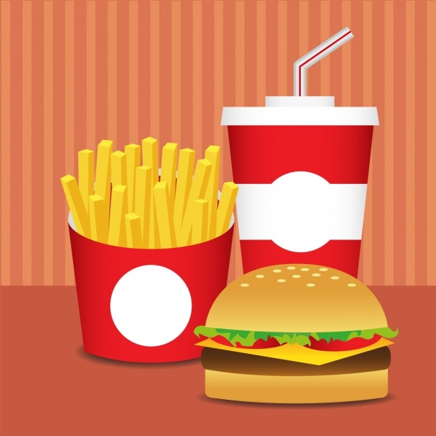 Fast food design plano Vetor grátis