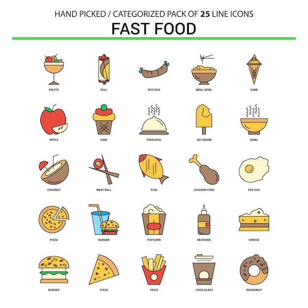 Fast Food Flat Line Icon Set Vetor grátis