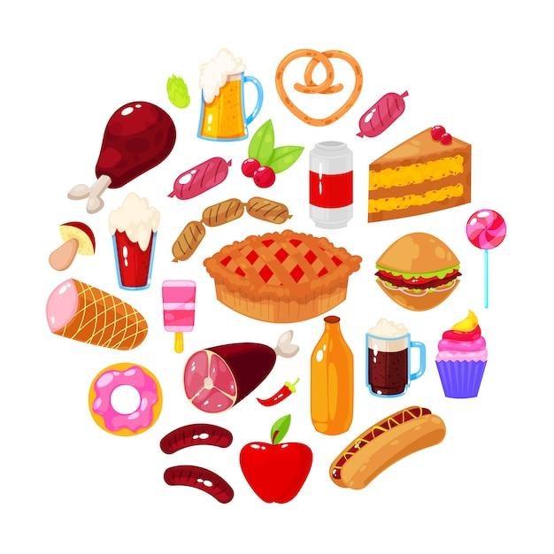 Fast food no fundo branco. ilustração vetorial Vetor Premium