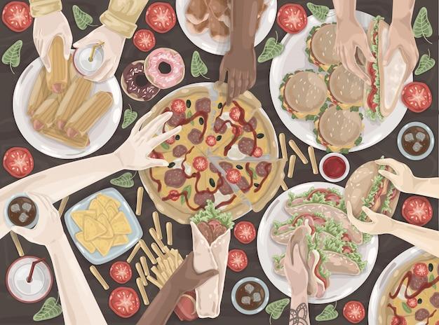 Fast-food, reunião amigável, celebração, conjunto de almoço Vetor Premium