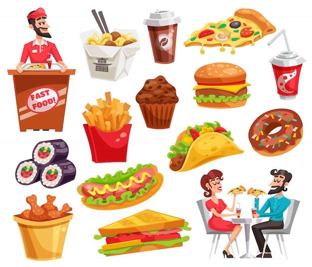 Fast food set Vetor grátis
