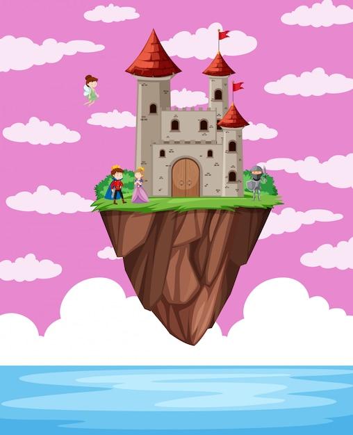 Fatasy castle obove ocean Vetor grátis