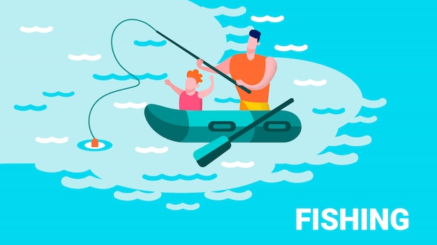 Father teaching son peixe lettering motivar Vetor Premium