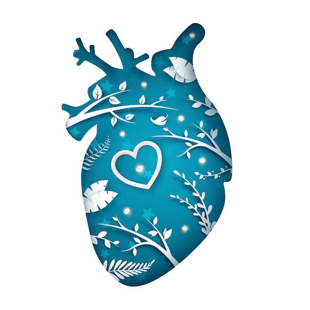 Fatia de coração de papel Vetor Premium