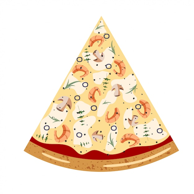 Fatia de marisco vista superior da pizza com ingredientes diferentes Vetor Premium