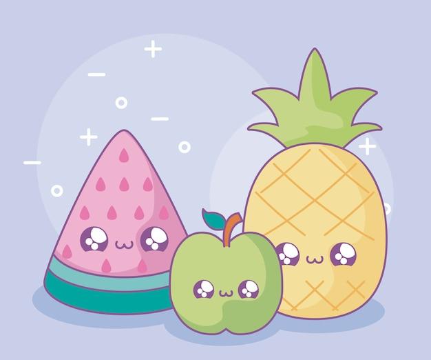 Fatia de melancia com abacaxi e maçã estilo kawaii Vetor Premium
