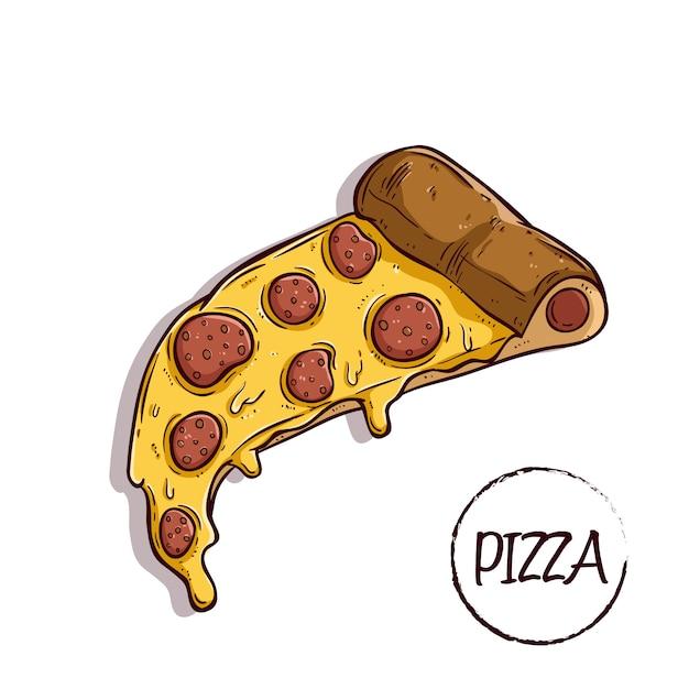 Fatia deliciosa pizza com calabresa usando mão colorido desenhado ou estilo doodle Vetor Premium