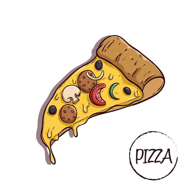 Fatia pizza com queijo e deliciosa cobertura usando estilo colorido doodle Vetor Premium