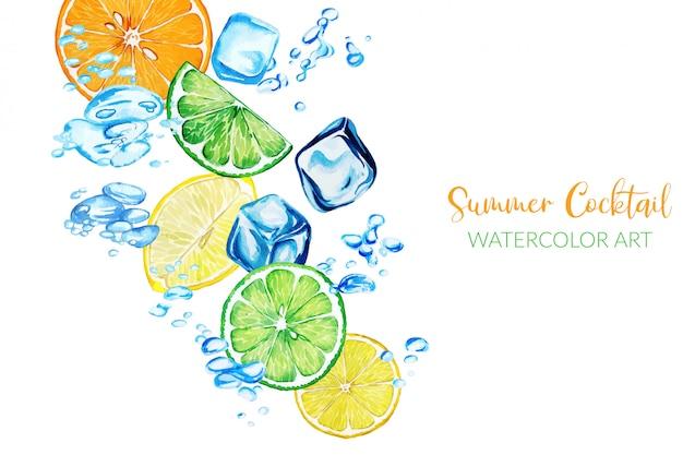 Fatias de citros frescas em aquarela entre bolhas de água Vetor Premium