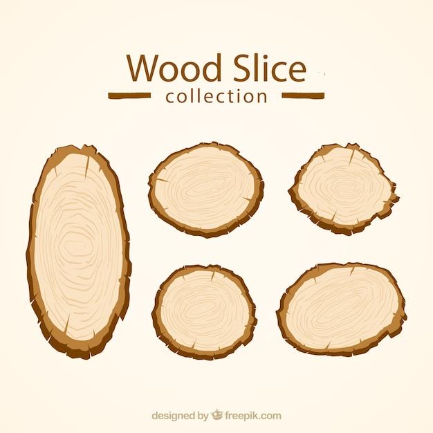 Fatias de madeira Vetor grátis