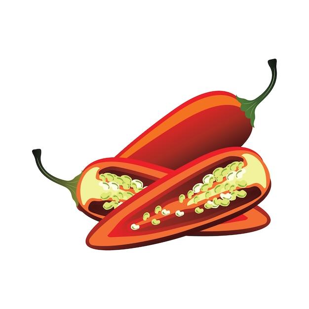 Fatias de pimenta jalapeça crua. ilustração vetorial Vetor grátis