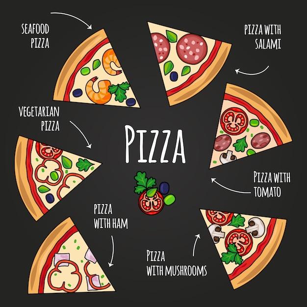 Fatias de pizza. menu de pizzaria do quadro-negro. ícones de fatia de pizza colorida com conjunto de texto Vetor Premium
