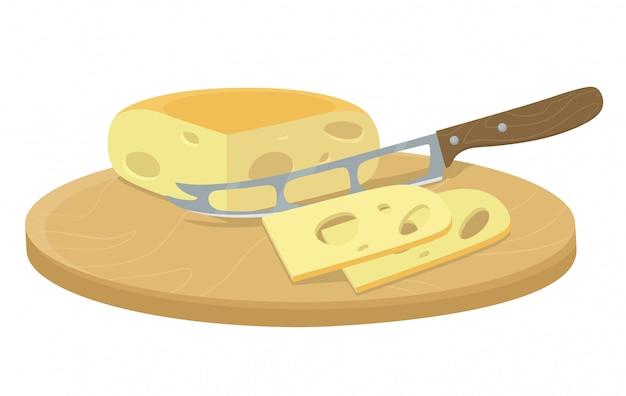 Fatias de queijo com uma faca. corte manual e moagem de ingredientes orgânicos. ilustração em estilo simples dos desenhos animados. Vetor Premium