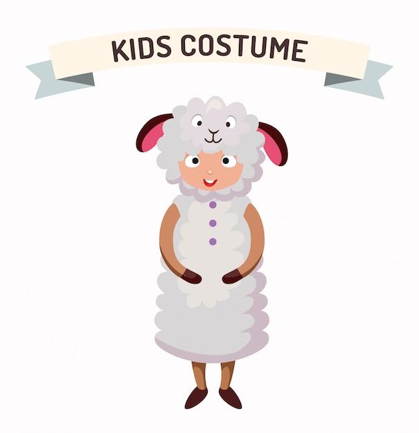 Fato de ovelha garoto isolado ilustração vetorial Vetor Premium