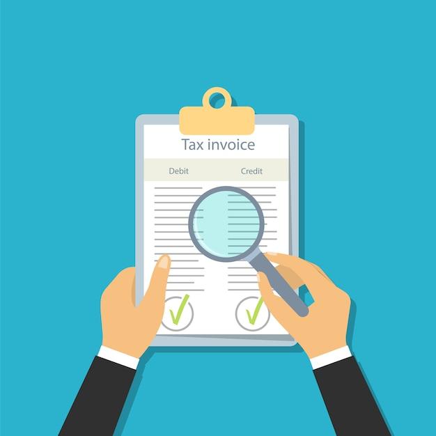 Fatura fiscal em estilo simples. veja documentos através de uma lente de aumento. verificação contábil. Vetor Premium