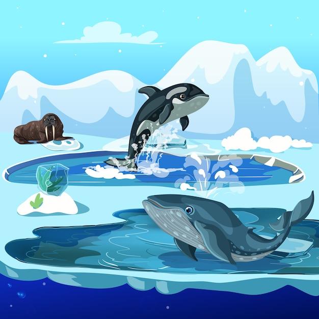 Fauna ártica dos desenhos animados Vetor Premium