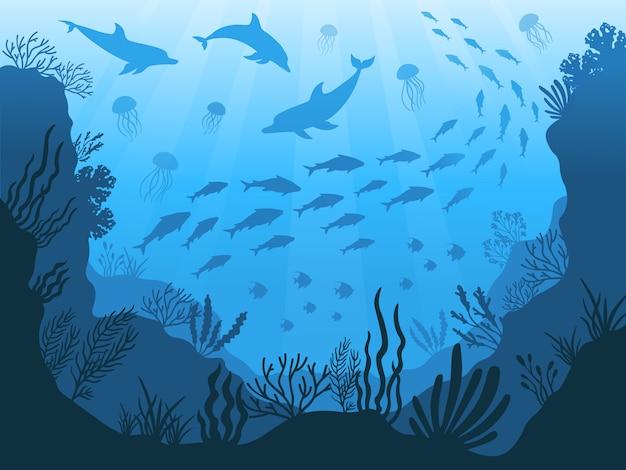 Fauna subaquática do oceano. plantas do fundo do mar, peixes e animais. ilustração de silhueta de algas marinhas, peixes e animais Vetor Premium