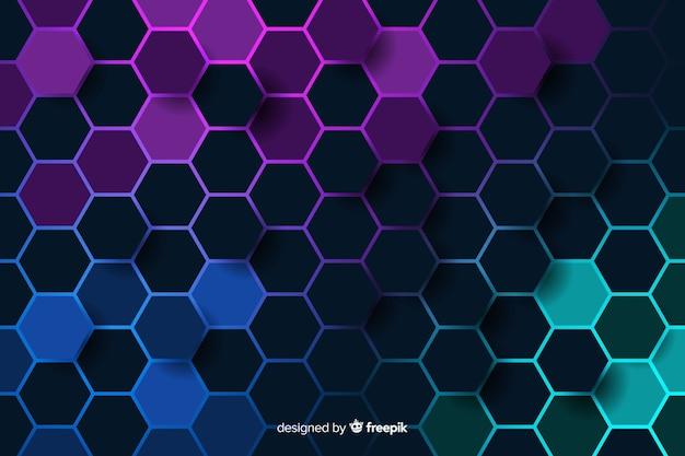 Favo de mel colorido frio do fundo do circuito digital Vetor grátis