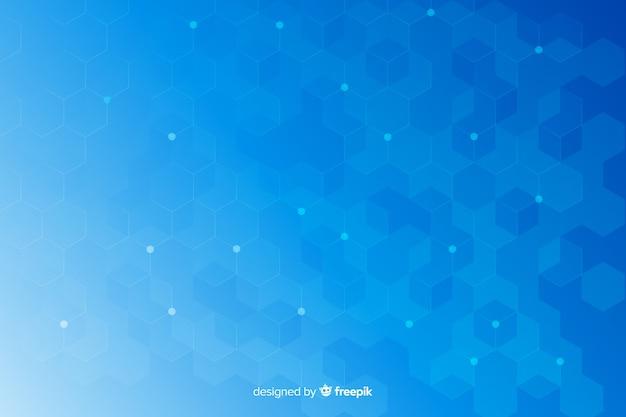 Favo de mel hexagonal azul formas fundo Vetor grátis