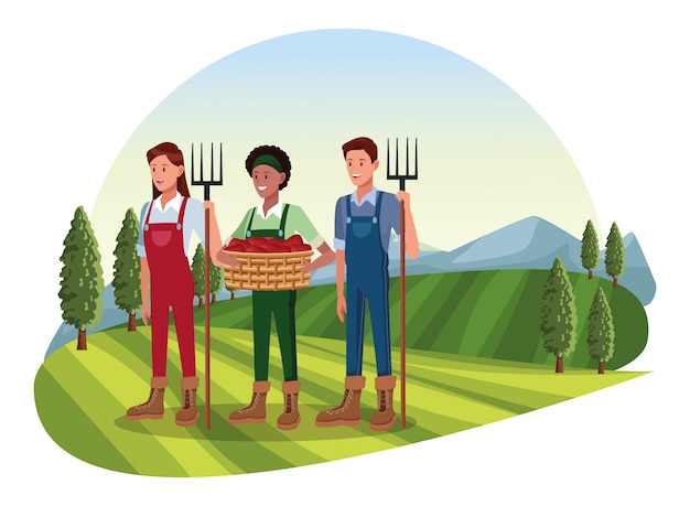 Fazenda, animais e agricultor dos desenhos animados Vetor Premium