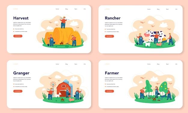 Fazenda, banner da web do agricultor ou conjunto de páginas de destino. agricultores trabalhando no campo, regando plantas e alimentando animais. vista do campo de verão, agricultura. viver na aldeia. Vetor Premium