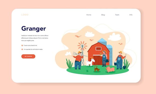 Fazenda, banner da web do agricultor ou página de destino Vetor Premium
