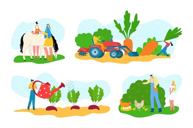 Fazenda com animais, desenho animado, agricultura, agricultura Vetor Premium