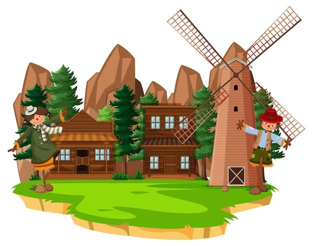 Fazenda com celeiro vermelho e moinho de vento em fundo branco Vetor Premium