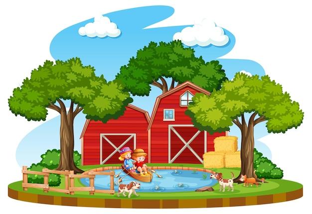 Fazenda com celeiro vermelho e moinho de vento em fundo branco Vetor grátis