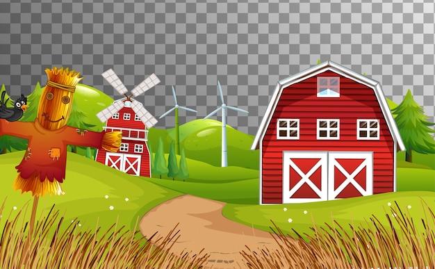 Fazenda com celeiro vermelho e moinho de vento isolado Vetor grátis