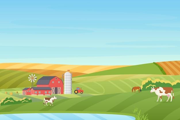 Fazenda com clima quente de verão paisagem campestre com casa de campo ecológica, celeiro, moinho de vento, trator, torre de silagem, vaca, cavalo, campos verdes e laranja perto da ilustração do lago azul limpo Vetor Premium