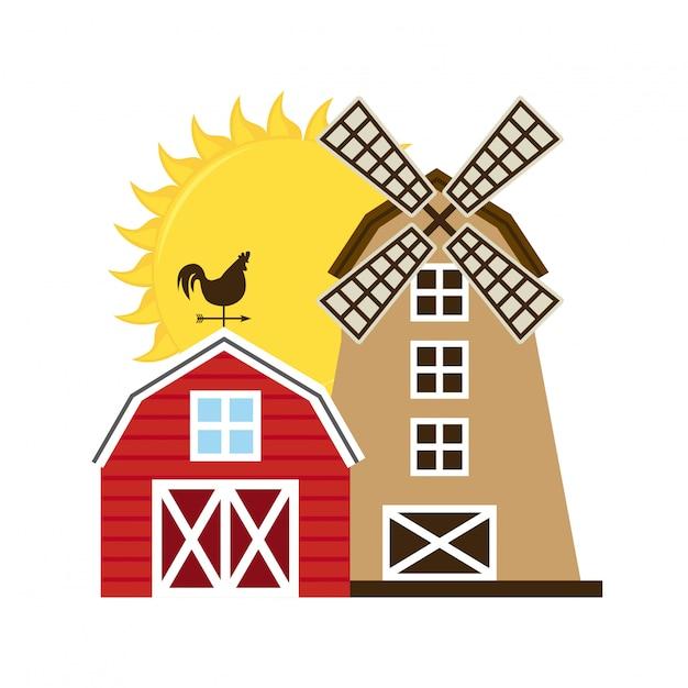 Fazenda com ilustração de moinho Vetor grátis